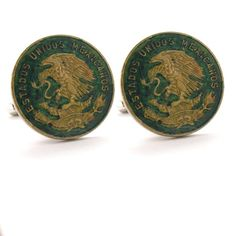 Mexico Cufflinks Cuff Links Coin Mexican Eagle Seal Coins Peso Money Finance Trade Cuidad de Mexico Vera Cruz Gemelos Mancuernillas