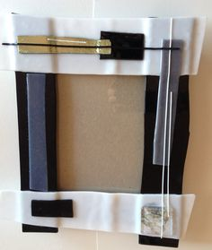 Abstract upcycled picture frame.  Fused glass.