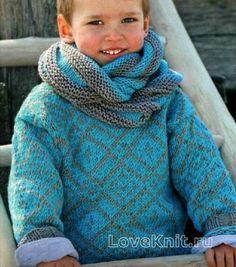 Кофты детская кофта с жаккардовым узором и шарф-хомут фото к описанию