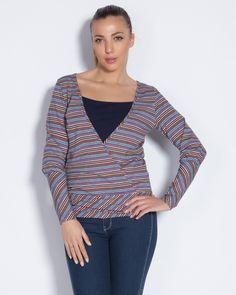 Дамска блуза на пъстри райета - Gery #Efrea #Ефреа #online #онлайн #пазаруване #дрехи #блуза #райета