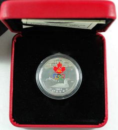 Canada 2004 Sterling Silver Lucky Loonie Colored Colored Olympic Logo