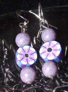 Purple Flower Earrings by reddirtroseokc on Etsy