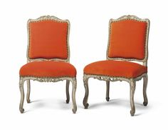 A PAIR OF EARLY LOUIS XV CREAM AND GREEN-PAINTED CHAISES CIRCA 1730