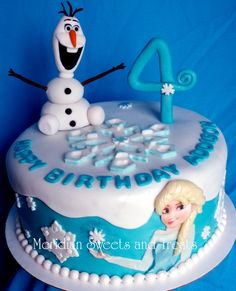"""Frozen Cake with Elsa and Olaf made by FB page """"Meridian Sweets and Treats."""" Snow Flake cake."""