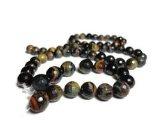 Faceted Blue Multicolor Tiger's Eye 8mm 10mm round by SamhaelArion, $20.00