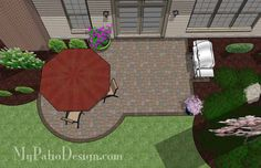 Great for a DIY project, the Small Patio Design on a Budget features 295 sq. ft., a circular area for your patio table and a barbecue grill pad. Patio layout.