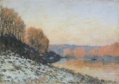 "Alfred Sisley  ""The Seine at Bougival in Winter"""