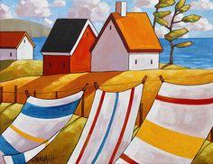 Art Print - Coastal cottages seascape, laundry ocean wind, summer breeze. 8x11 Modern folk art print giclee gift. Artwork wall decor by artist Cathy Horvath ____________________________________________________________ TITLE: Laundry Seaside Breeze SIZE: Paper - 8 1/2 x 11, Image - 7