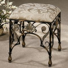 Bathroom Furniture Elegant Backless Vanity Chair With Ornate Gilded Wrought Iron Frame and Square Fabric Upholstered Seat Vanity Chair for Bathroom