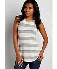 the 24/7 high neck tank with tricolor stripes