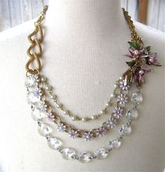 Statement Necklace Lavender Purple Bib Enamel Flower Vintage Brooch Crystal And Pearl - Lilac Lovelies Necklace. $98.00, via Etsy.