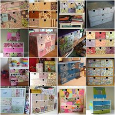 """1. IKEA drawers, 2. Enfim, pronta!!!, 3. My sewing & crafting studio, 4. knitting tool storage drawer, 5. decopatch-box-024, 6. Ikea drawers 3, 7. Decoupaged Fira chest, 8. IKEA, revamped, 9. Drawers box from IKEA..., 10. sewing table organizers, 11. Mod Podge IKEA box, 12. Project """"Lovely City"""" (1), 13. IKEA love, 14. Ikea Boxes, 15. storage, 16. decopatch-box-017 Created with fd's Flickr Toys."""