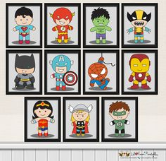 11x Superhero Digital Art Prints – Printable Pop Art Superhero Poster- Comics Pop art Nursery Baby superheroes