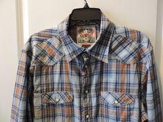 Jachs Designer Blue Plaid Western Styled 100% Cotton Mens Shirt SZ XL Mint #Jachs #Western