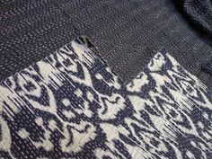 Indian handmade Queen Size Black Ikat kantha quilt by lavinas
