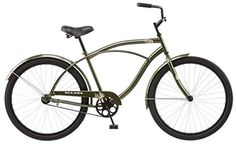 Kulana Men's Cruiser Bike, 26-Inch, Green  Classic steel cruiser frame and fork  Extra large cruiser seat with springs  Full wrap steel fenders  Easy reach cruiser handlebars and cruiser rise stem