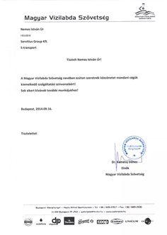 Dr.Kemény Dénes - Magyar Vízilabda Szövetség elnőkének irodaköltöztetés köszönőlevele