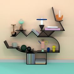 OGN Project - conducted by a team of young Norwegians gives shape to the modern graphic by materializing it into a series of modular shelves Shelving Racks, Modular Shelving, Bookshelf Design, Bookshelves, Bookshelf Styling, Memphis Design, Private Club, Hanging Shelves, Architecture