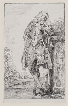 Jean Antoine Watteau, Standing Man, Leaning (Homme debout accoudé), Etching, about 1710