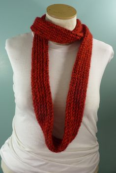 Red Infinity Scarf, Knit Circle Scarf, Unisex Scarf, Mens Winter Scarf, Womans…