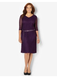 Plus Size Modern Crochet Dress Catherines Women's Size 3X, Crushed Grape