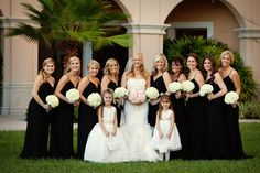 Second, you can pick out a beautiful all-over black dress for your bridesmaids and a white junior bridesmaid dress with a back sash. Description from whiteazaleajuniordresses.blogspot.com. I searched for this on bing.com/images