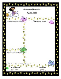 This is a two page Space themed template for a classroom newsletter. The file is to be opened in Microsoft Word. Click inside the text boxes to add...