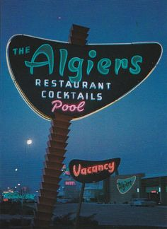"https://flic.kr/p/NcEAvU | Algiers Pylon Sign at Night - Las Vegas - Design by Hermon Boernge of YESCO | Photo scanned from the must-have book ""The Magic Sign"" by Chuck Barnard Photo credit: Photo Arts-San Francisco"