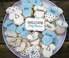 Baby shower cookies in blue and brown,      Baby Shower by JJ Spencer, via Flickr