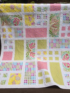 Modern quilt Twin teen girl flower quilt by quiltprincess on Etsy, $250.00