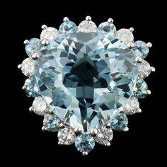 Sparkling Eyes, Gold Face, Aquamarine Jewelry, Aqua Marine, Natural Diamonds, Fashion Rings, Jewelery, Vintage Jewelry, White Gold