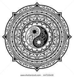 Vector henna tatoo mandala. Yin-yang decorative symbol. Mehndi style.