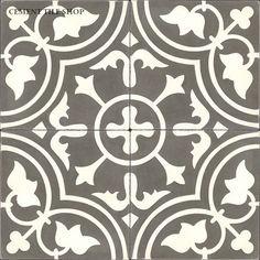 Cement Tile Shop - Handmade Cement Tile   Roseton Charcoal