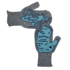 These novel mittens will both keep you warm, and keep you from getting lost this winter! A custom Michgan map adorns both mittens. Available in assorted colors.