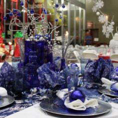 Christmas table - cobalt blue