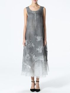 $148 Tanyuosho Gray Vintage Silk Embroidered Midi Dress