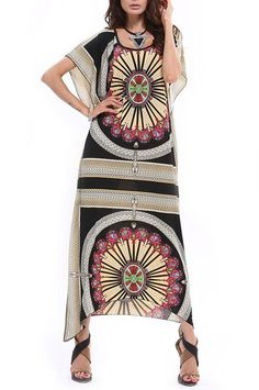 Summer Vintage Print Maxi Long Dress:Summer Fashion: Spring Outfits:Casual Outfits:Cute Outfits: Summer Outfits: Spring Outfits:Spring Outfits:Summer Dress