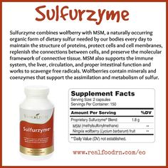 Sulfurzyme combines wolfberry with MSM, a naturally occurring organic form of dietary sulfur needed by our bodies every day to maintain the structure of proteins, protect cells and cell membranes, replenish the connections between cells, and preserve the molecular framework of connective tissue. MSM also supports the immune system, the liver, circulation, and proper intestinal function and works to scavenge free radicals. #sulfurzyme
