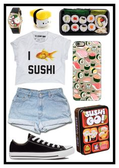 """""""#183 sushi"""" by xjet1998x ❤ liked on Polyvore featuring moda, Casetify, Converse e Whimsical Watches"""