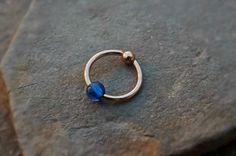 Gold Cartilage Earring with Blue Bead Captive Hoop Body Jewelry 16ga Helix