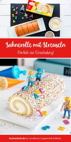 Pimpt eure Sahne-Rolle passend zur Einschulung Cream roll with colorful sprinkles and ABC decor suitable for school enrollment. Sweet cake idea very fast and without baking. More on our online magazine www. King Birthday, Birthday Cake, Birthday Dinners, Sweet Cakes, Room Themes, Candyland, Gifts For Wife, Birthday Candles, Sprinkles