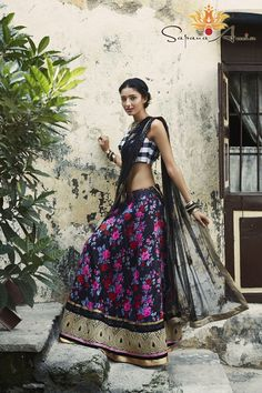 Shop VIVA-LUXE Designer Sapana Amin's Black & White Floral Lehenga with custom, made to measure tailoring for a perfect fit & satisfaction guarantee on EVERYTHING. Free UK & India delivery on everything, always. Patiala Salwar, Anarkali, Lehenga Saree, Kurti, Indian Attire, Indian Wear, Bride Indian, Indian Dresses, Indian Outfits