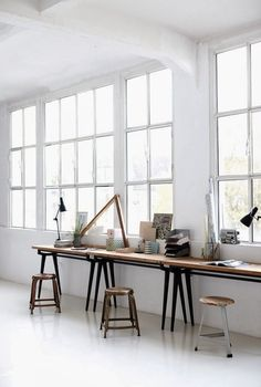 Gathering inspiration for our sunroom/office which I am looking forward to  giving a refresh over the holidays.  I want to hang a few more prints up on the wall, create a cozy reading nook  and declutter my desktop ready for the new year.  Image sources unknown.