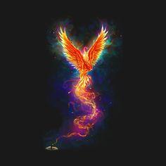 From the Last Spark color est un T-shirt conçu par chriskar pour illustrer votre . - From the Last Spark color est un T-shirt conçu par chriskar pour illustrer votre vie et disponible - Phoenix Artwork, Phoenix Wallpaper, Phoenix Images, Rising Phoenix Tattoo, Phoenix Bird Tattoos, Phoenix Tattoo Design, Phenix Tattoo, Mythical Creatures Art, Galaxy Art