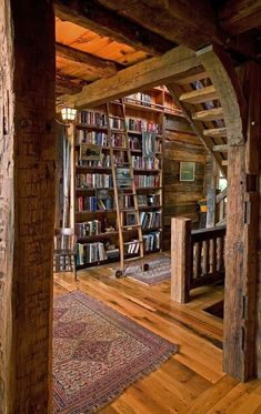 A library in my log cabin? Of course! More #LogCabinHomes #LogHomeDecorating #LogHomes