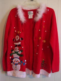 The Quacker Factory Christmas Sweater Womens Size M Ugly Christmas Sweater #QuackerFactory #Cardigan