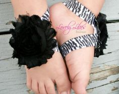 Baby Barefoot Sandals .. Black and Pink .. by LovelyLiliesBoutique
