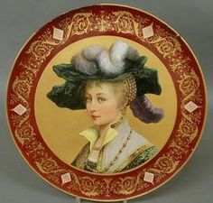 Austria, A Royal Vienna porcelain charger, late 19th century, center portrait of a woman wearing a large feathered hat
