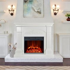 Large Crawford Mantel Electric Fireplace 1500W Heater Stand with Remote Control, White