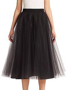 Badgley Mischka Tulle Midi Skirt